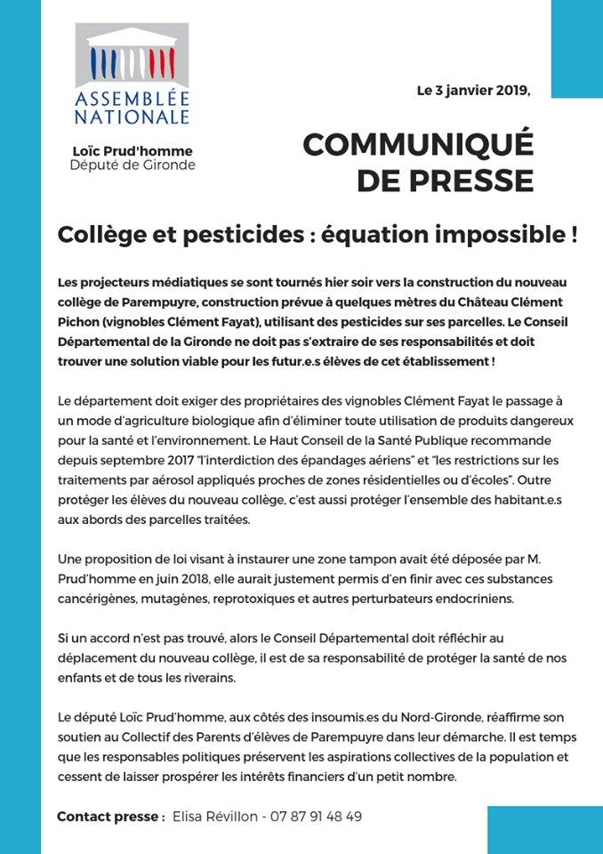 Communiqué de Loic Prudhomme - Collège et Pesticides