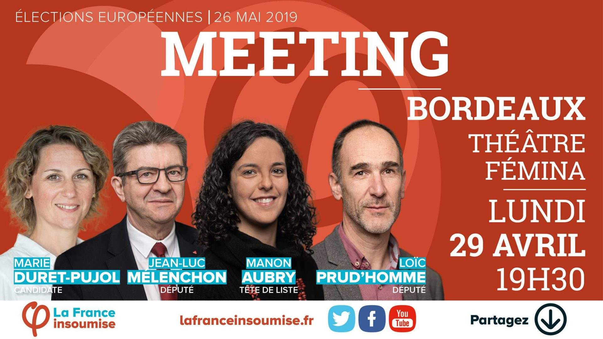 Meeting à Bordeaux - France Insoumise - 19 Avril 2019